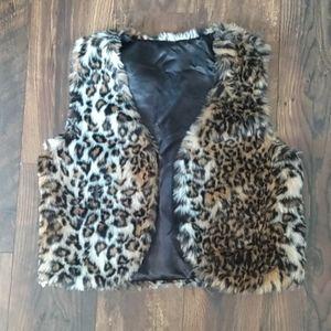 Leopard Print Fur Vest